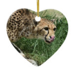 Beautiful Sleek Cheetah Cat Ceramic Ornament