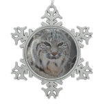 Creeping Bobcat Snowflake Pewter Christmas Ornament