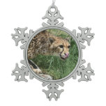 Sleek Cheetah Cat on a Rock Snowflake Pewter Christmas Ornament